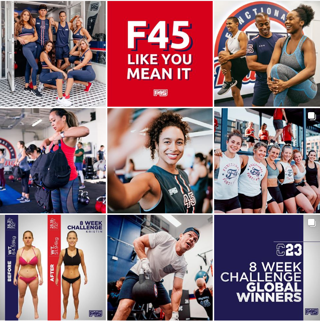 F45 Instagram page showing small business visual consistency